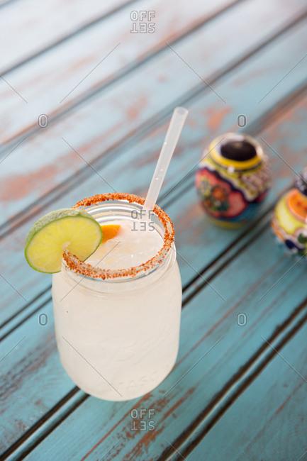 Margarita served in mason jar
