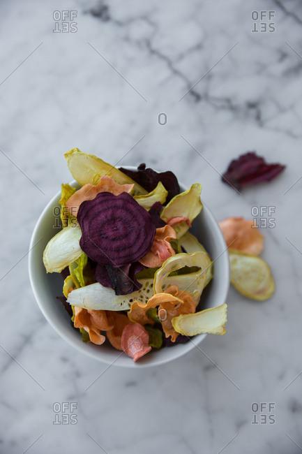 Bowl full of veggie chips