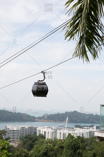 Cable car above the city of Singapore