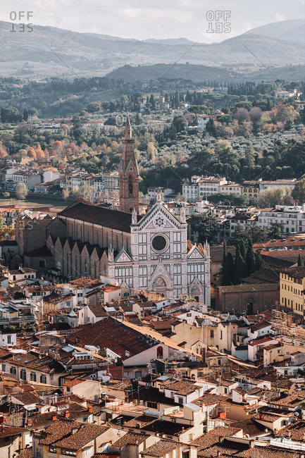 High angle view of the Santa Croce church rising out of the medieval cityscape of Florence, Italy