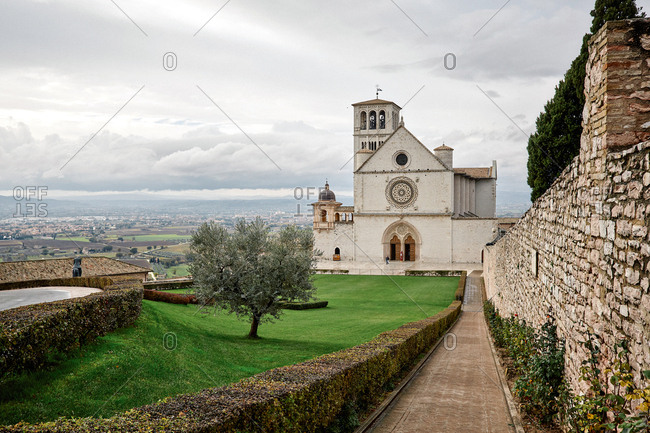 A view of the pilgrimage site of the Basilica of Saint Francis of Assisi and the Umbrian countryside