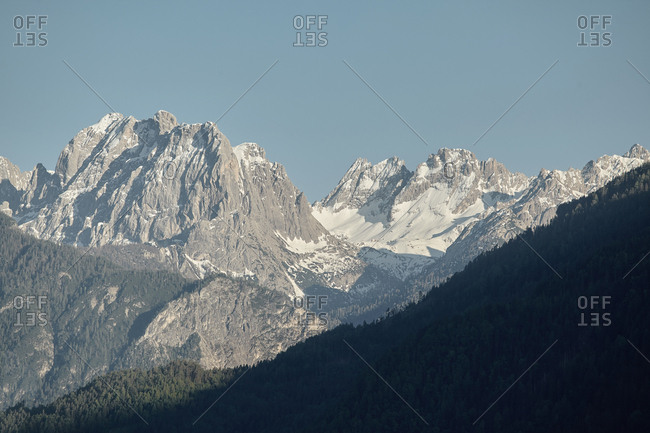 Stunning mountainscape of snow covered peaks in the Tyrolean Alps