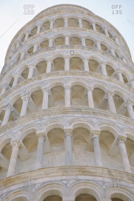 Close up view showing details of the leaning tower of Pisa, Italy