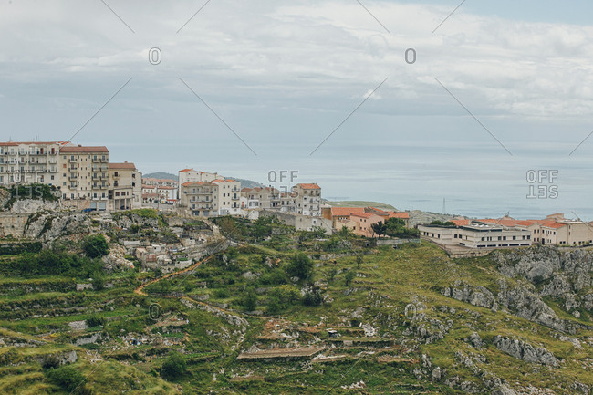 A view of part of the  town of Monte Sant'Angelo perched on rocky hilltop in Italy