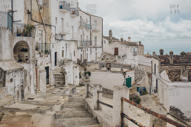 Looking along the convoluted stepped paths leading through the town of Monte Sant'Angelo, Apulia, Italy