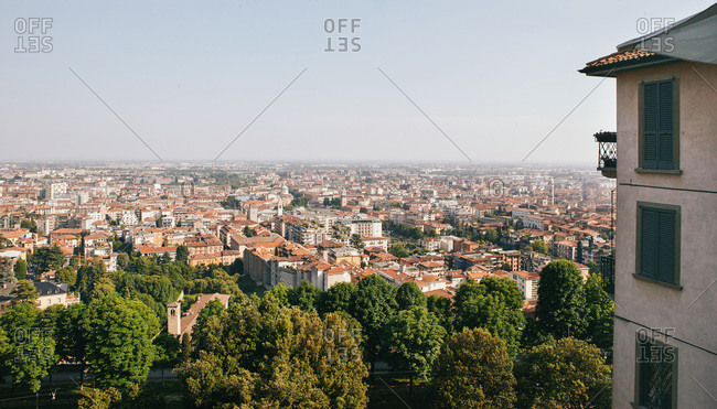 High angle view over lower city of Bergamo, Italy
