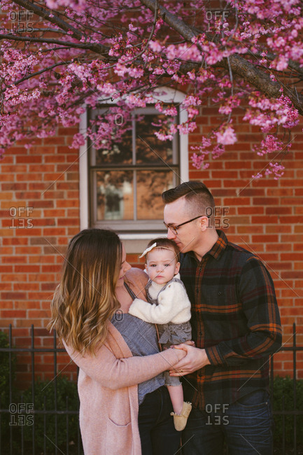 Parents hug their child under blooming trees