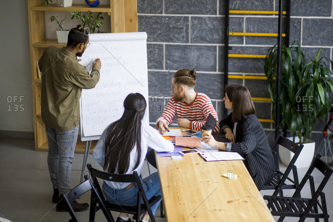 Young Asian man presenting concepts to colleagues using flip  chart