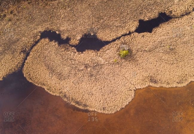 Abstract aerial view of Valgjarv lake in Estonia