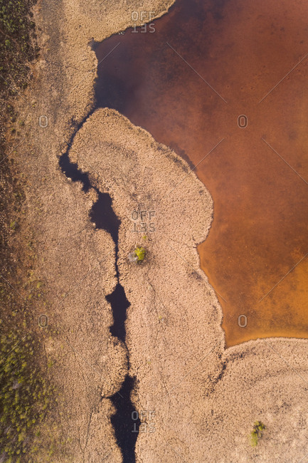 Aerial view of amazing surreal landscape around Valgejarv lake in Estonia