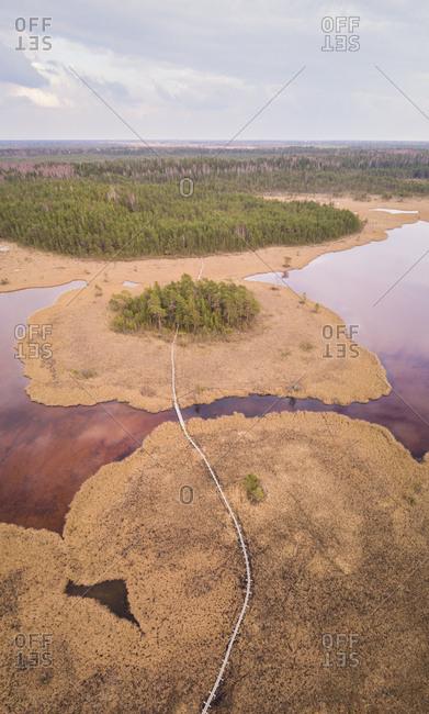 Aerial view of beautiful landscape around Valgjarv lake in estonia