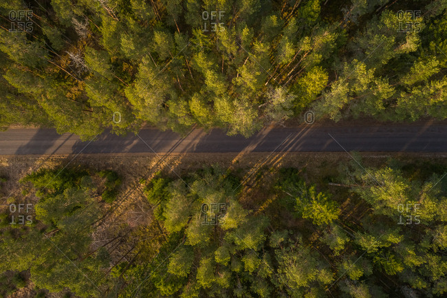 Aerial view of empty road at sunset on the island of Vormsi, Estonia