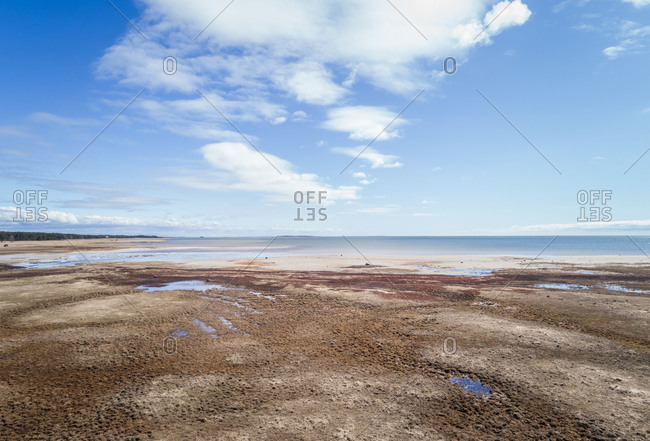 Aerial view of beautiful horizon from the beach on island of Vormsi, Estonia