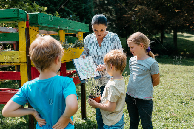 A teacher talking about plants with a small group of elementary students