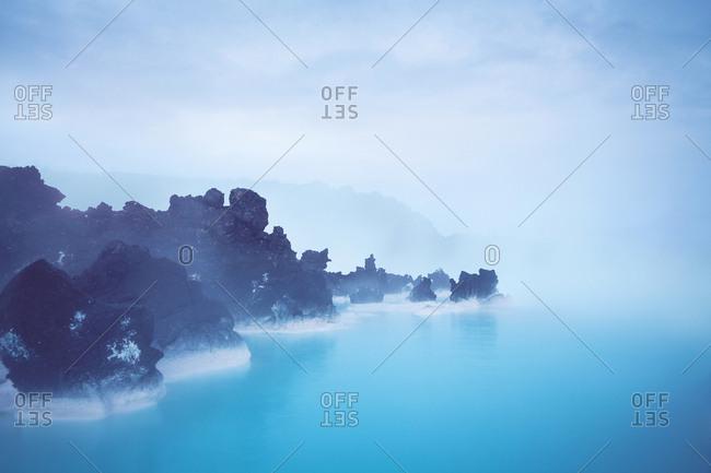 Rocky coast on a foggy day