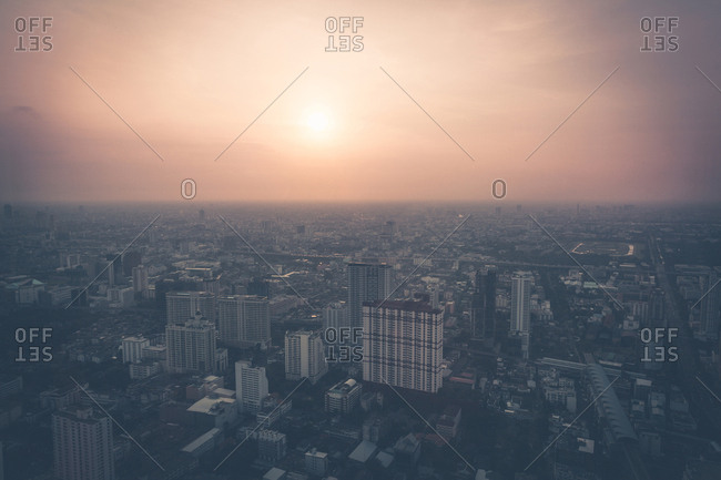 Aerial view of sprawling city on a hazy afternoon