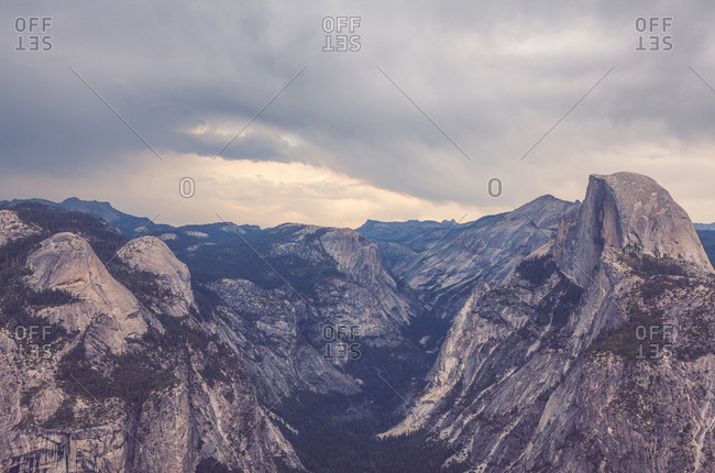 Scenic view of Half Dome and Yosemite Valley