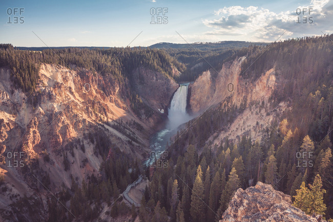 Scenic view of Lower Falls and the Grand Canyon of the Yellowstone