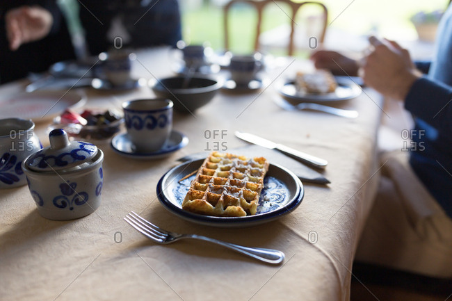 Home made belgian waffle on table
