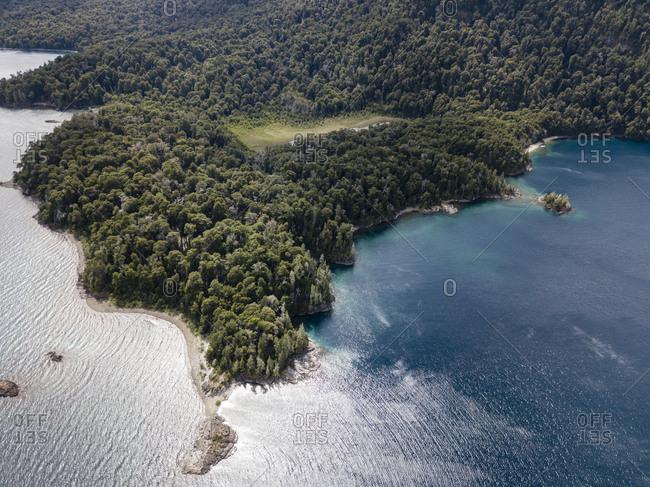 Wooded lake shore at Nahuel Huapi Nation Park from above