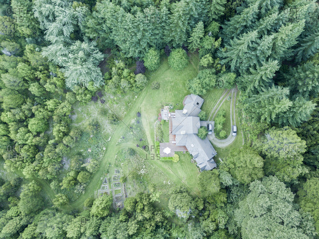 Drone view of sprawling Argentenian residence in private wood