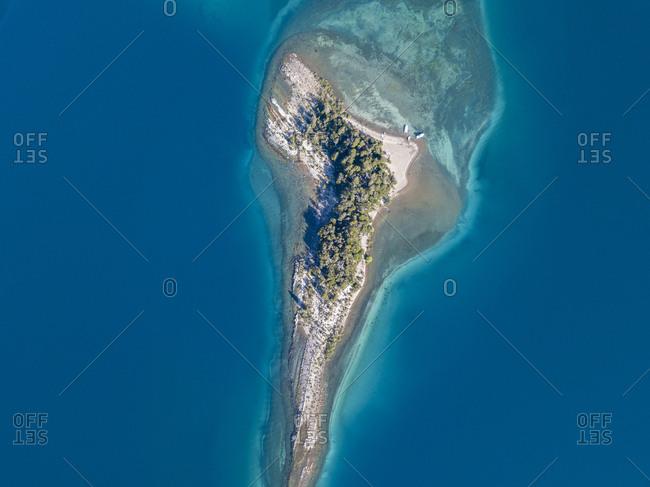 Drone view of scenic Nahuel Huapi Lake island