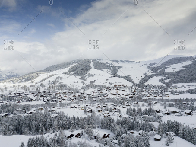 High angle view of scenic French ski town