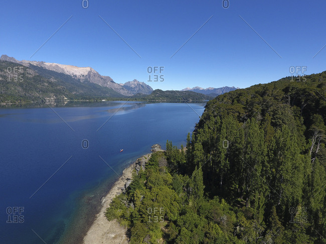 Picturesque lake in Argentina on a sunny day