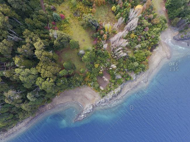 Elevated view of Nahuel Huapi shore in autumn