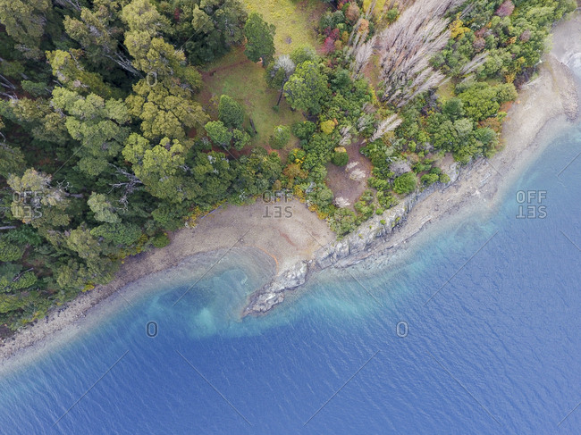 Picturesque Nahuel Huapi shoreline in autumn from above
