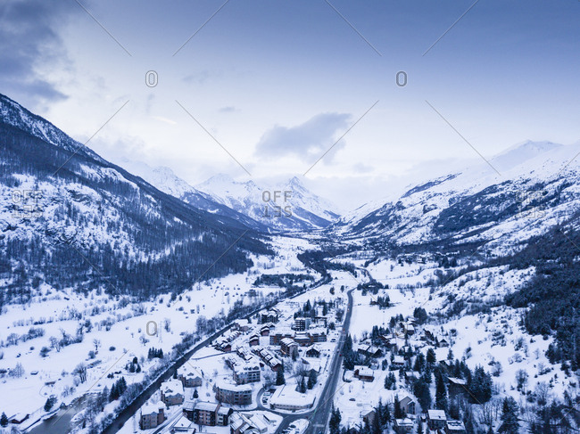 High angle view of snowy French ski village