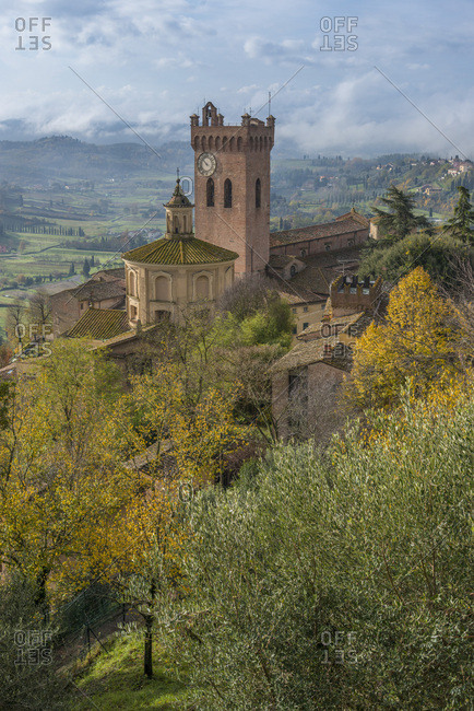 Torre di Matilde and belfry of cathedral in San Miniato village, Tuscany, Italy