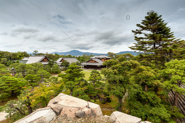 View from above of Nijo-jo Castle, residence of Tokugawa leyasu, the first Shogun of the Edo period, Unesco world Heritage site, Kyoto, Japan
