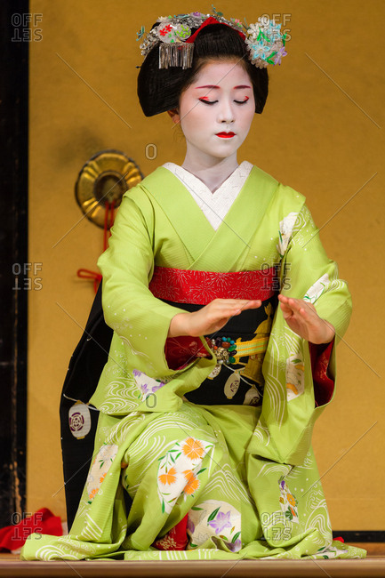 July 15, 2013: Kyo-mai is an elegant and dazzling dance performed by maiko and geiko dancers in wonderful ornate dress. Kyo-mai performances by mayko can be enjoyed at Gion Corner theater, Kyoto, Japan