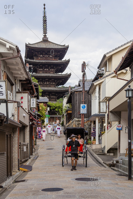 July 16, 2013: Jinrikisha or human power is a sort of human taxi for tourists in Higashiyama District, Kyoto, Japan