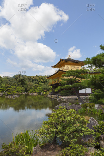 Kinkaku-ji or golden pavilion temple is Japan's most famous leading temples, World Cultural Heritage featuring a shining golden pavilion reflected in a centered lake, kyoto, Japan