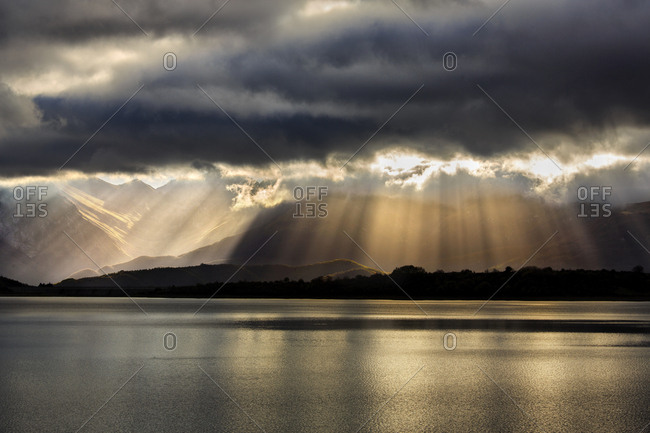 A wonderful light over lake of Campotosto during an amazing sunrise, Gran Sasso and Monti della Laga national park, Abruzzo, Italy