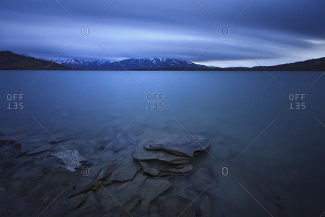 Campotosto lake at the blue hour, Gran Sasso e Monti della Laga national park, Abruzzo, Italy