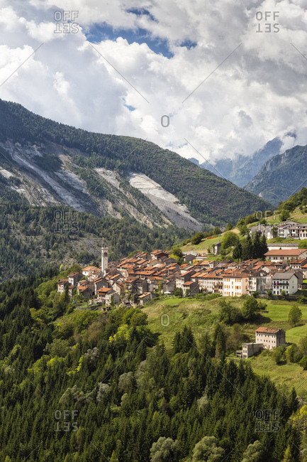 Erto village and the landslide of Toc mount in the background, Vajont dam disaster, Friuli Venezia Giulia, Italy, Europe