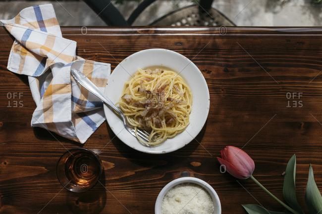 Freshly made pasta alla carbonara