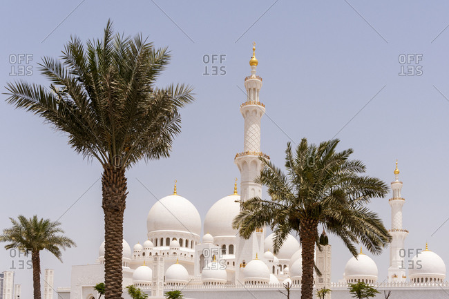 A view of the minarets and domes of the Sheikh Zayed Grand Mosque in Abu Dhabi, United Arab Emirates