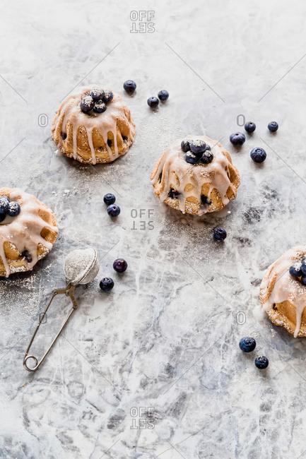 Mini bundt cakes with blueberries