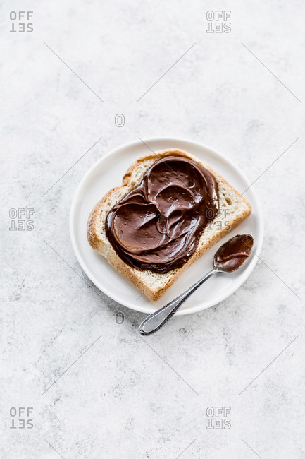 Nibbled toast with hazelnut and chocolate spread