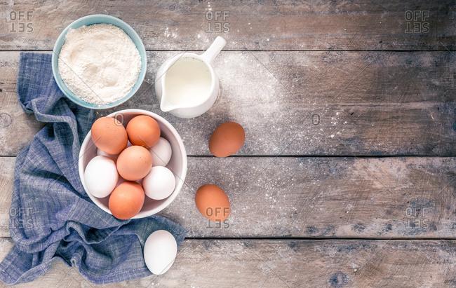 Milk flour and eggs