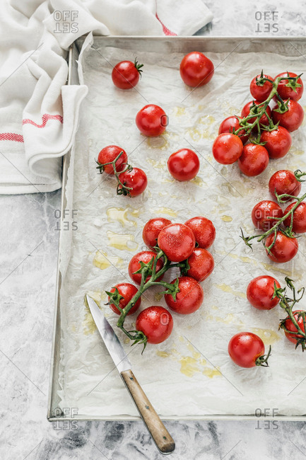 Tomatoes roasted in a pan for bruschetta