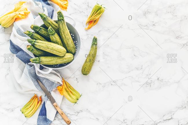 Zucchini and zucchini flowers