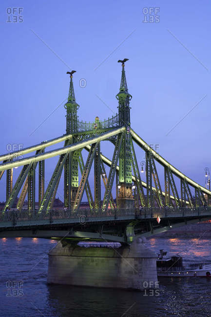 Hungary, Budapest - May 1, 2018: The Liberty Bridge at dusk