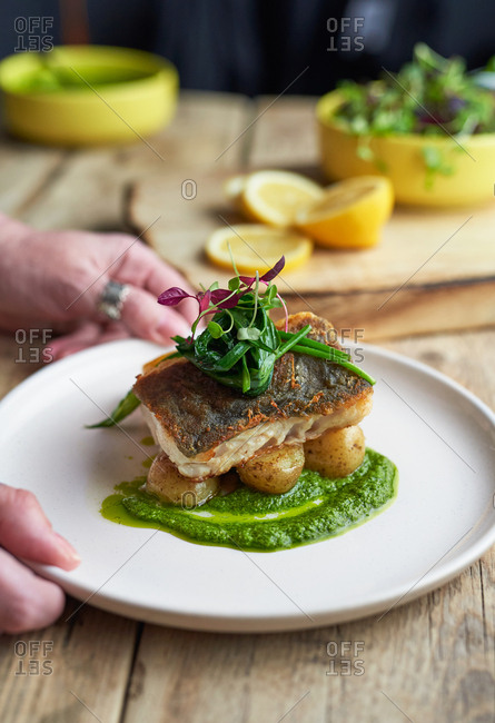 Close up of woman's hands placing dish of baked cod with watercress sauce and wild garlic on table