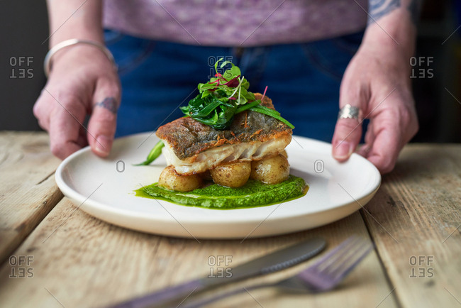 View of woman's hands placing dish of baked cod with watercress sauce and wild garlic on table