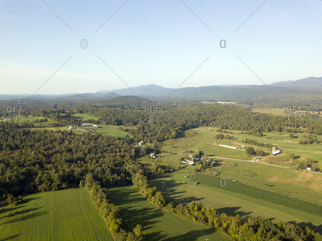 Farm land and countryside in Brandon, Vermont from above